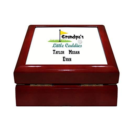 Caddie Valuables - Personalized Custom Text Golf Grandpa's Little Caddies Wood Organizer Jewelry Box 4