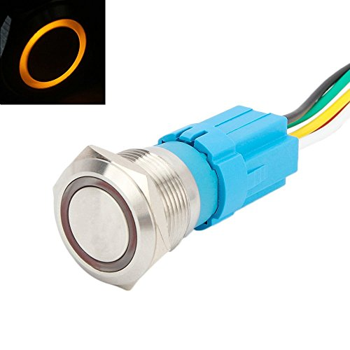 - Senzeal Latching Push Button Switch U19C1 1NO1NC SPDT ON/Off Stainless Steel with 12V 3A Orange LED Suitable for 19mm/0.75'' Mounting Hole