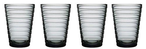 iittala Aalto Set of Four Glass Tumblers, Grey, 11-Ounce Capacity