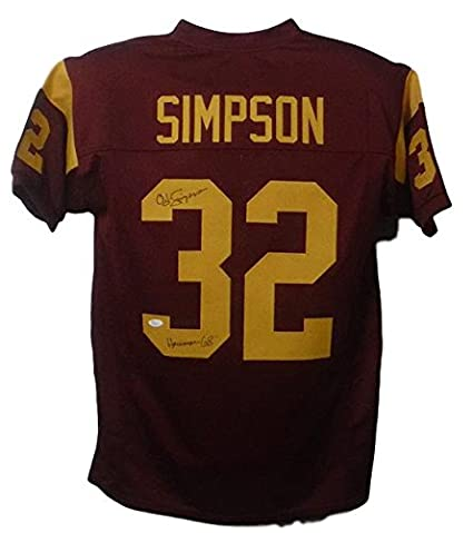 88b2f3f7a Image Unavailable. Image not available for. Color  OJ Simpson Autographed  USC Trojans Custom Size XL Red jersey ...