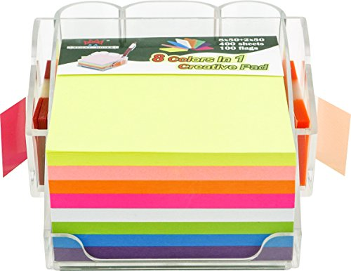 4A Sticky Note Dispenser Pen Holder Set,8 Ultra Colors 3X3 Inches 400 Neon Sheets Sticky Notes and 1x1 3/4 Inches 2X50 Sheets.100 Flags,4A 303-AC-holder