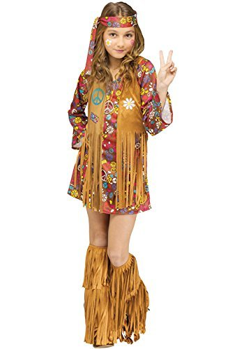 Fun World Peace & Love Hippie Costume, Small 4 - 6, Multicolor