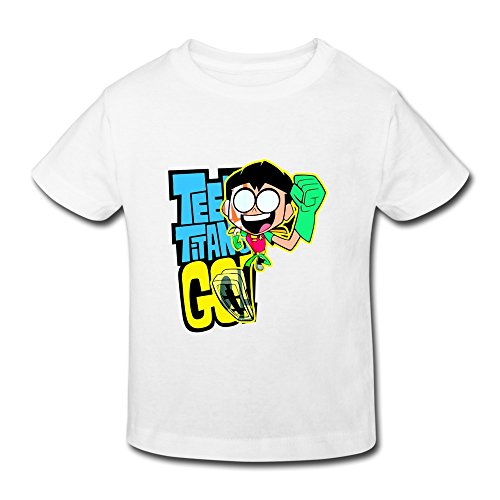 AOPO Teen Titans Go Robin Tees For Toddlers Unisex (2-6 Years) 5-6 Toddler White
