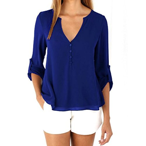 TAORE Womens Casual Chiffon T-shirt V-Neck Cuffed Button Detail Sleeve Blouse Top (S, Blue) ()