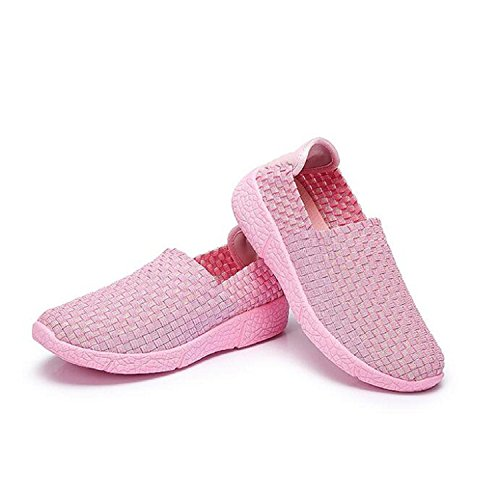 Camel Womens Ultra Lightweight Comfort Woven Elastic Woven Anti-Slip Slip On Loafer Shoes Pink smG3dsn
