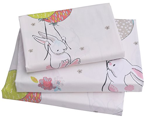 Olive Kids Collection - J-pinno Cute Cartoon Rabbit Bunny Twin Sheet Set for Kids Girl Children,100% Cotton, Flat Sheet + Fitted Sheet + Pillowcase Bedding Set