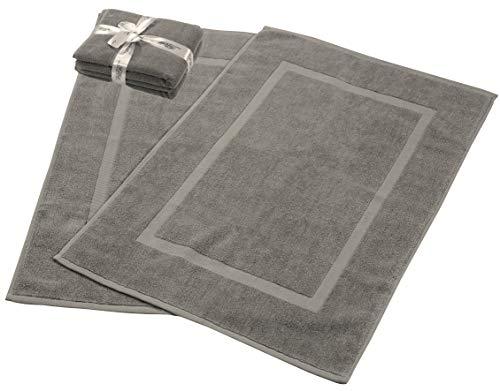 HILLFAIR 900 GSM-Hotel-Spa Tub-Shower Bath Mat Floor Mat - (2 Pack, Natural Grey, 21 Inch by 34 Inch) - 100% Ringspun Cotton Bath Mat/Bath Rugs,Machine Washable Cotton Bath Mats - Terry Bath Mats/Rugs