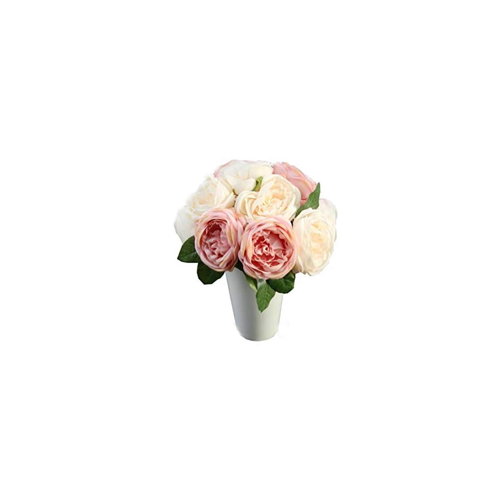 Artificial-Rose-Silk-Flowers-5-Flower-Head-Leaf-Garden-Decor-DIY-pink
