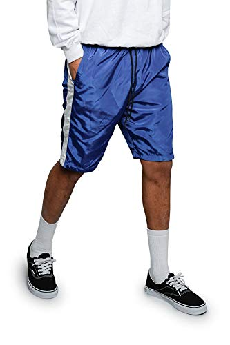 Victorious Men's Side Striped Drawstring Side Pocket Nylon Windbreaker Shorts JS19 - Royal Blue - 2X-Large - A9B