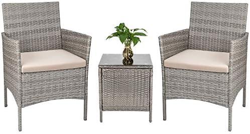 Tozey 3 Pieces Patio Furniture Sets PE Rattan Outdoor Conversation Set
