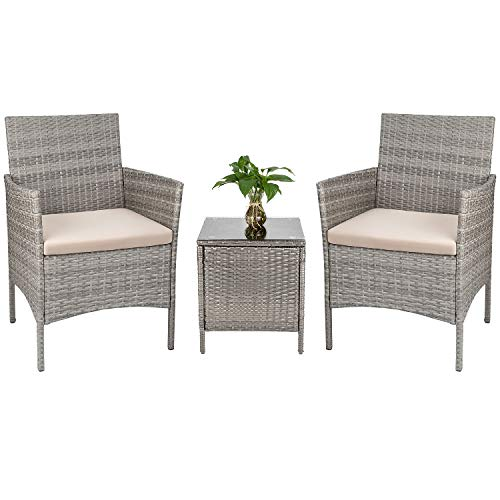 Tozey Porch Furniture Outdoor Patio Sets PE Rattan Wicker Conversation Set with Table Backyard Porch Garden Poolside Balcony 3 Pieces (Grey)