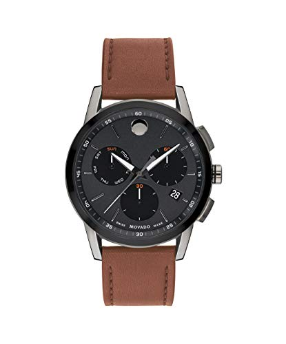 Movado Men's Museum Sport Chronograph Watch with a Printed Index Dial, Brown/Grey/Black (0607290)