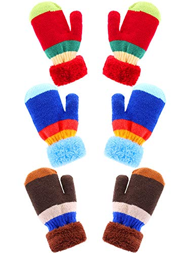 Bememo 3 Pairs Kids Knit Mittens Warm Winter Gloves Stripe Crochet Gloves Full Fingers Warm Gloves for Boys and Girls (Color Set 2, 4-7 Years ()