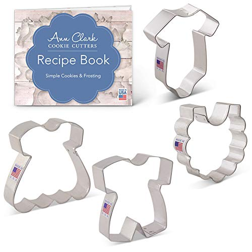 Baby Clothes Cookie Cutter Set with Recipe Booklet - 4 piece - Onesie, Romper, Dress & Bib - Ann Clark - USA Made Steel Decorated Baby Shower Cookies