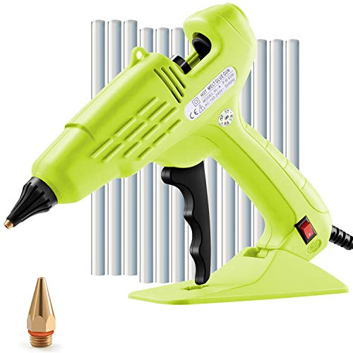Hot Glue Gun Full Size 60W Heavy Duty Craft Glue Gun with Nozzle & 10Pcs 11 mm Glue Sticks and Hot Melt Glue Gun with Switch for DIY, Arts & Crafts, Home and Office Quick Repairs (green).