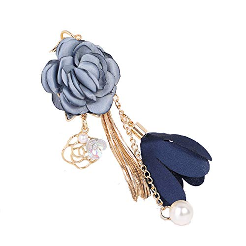 ZOONAI Flower Tassel Keychain Pearl Car Keyring Holder Purse Handbag Pendant (Blue)