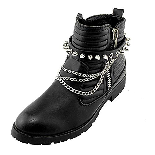 - Men Biker Punk Boots Bracelets Metal Chain Vintage Pair Leather Strap Spike