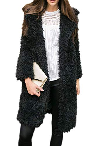 Confortevole Di Costume Pelliccia Outerwear Lunga Cappotti Nero Moda Manica Giacca Monocromo Invernali Lanoso Calda Donna Sintetica 7wFqAPnx