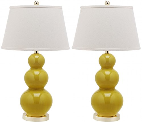 Safavieh Lighting Collection Pamela Triple Gourd Ceramic Table Lamp, Mustard Gold, Set of 2 (Triple Lamp Gourd)