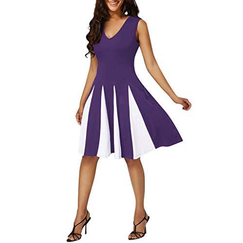 Women Plus Size Striped Sexy V-Neck Sleeveless Patchwork Party Evening Dress