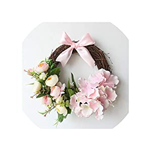 Sharing lives Artificial Flowers Small Garland Wedding Room Layout Bedroom Garland Wall Hanging Furniture Hotel Garden Ornaments,Pink Small 88