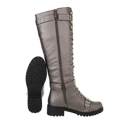 Ital design Pe116 ˆ Bottes Bottines Et Lacets Femme Grau Chaussures Bloc Silber F76S8q