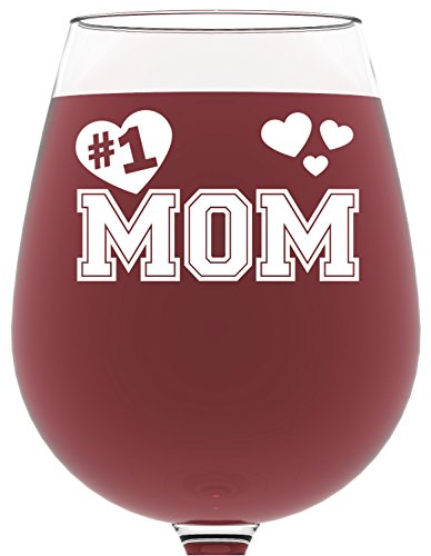Got Me Tipsy Number 1 Mom Wine Glass - Birthday Gift Idea for Mom, Mother's Day Gift - 13-Ounce, Glass
