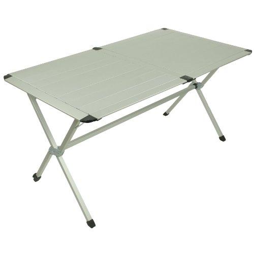 10T AluTab Trio - Camping-Tisch 6 Personen 140x80cm mit Lamellensystem-Tischplatte Aluminium