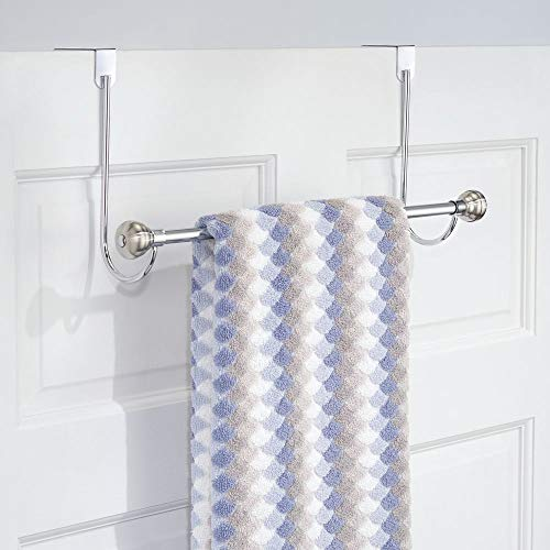mDesign Metal Bathroom Over Shower Door Towel Rack Holder - Storage Organizer Bar for Hanging Washcloths, Bath, Hand, Face & Fingertip Towels - Brushed with Chrome Finials by mDesign (Image #3)