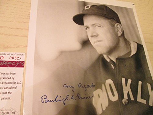 BURLEIGH GRIMES Signed Brooklyn Dodgers 8x10 Baseball Photo -JSA Authenticated