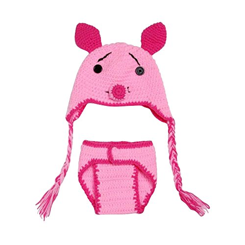 [Pandahall Pig Crochet Baby Beanie Costume Photography Props] (Pig Infant Costumes)
