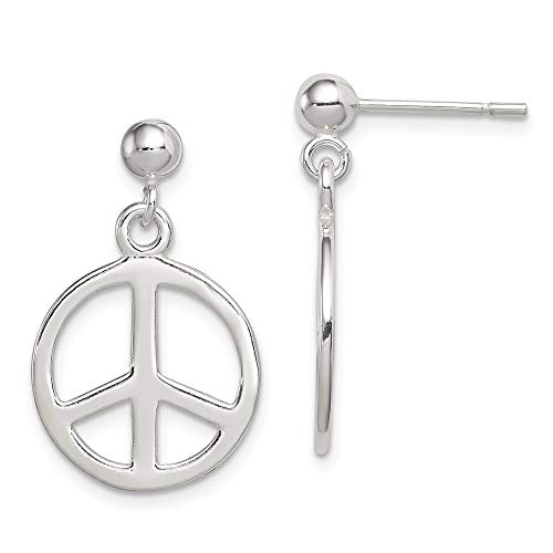 925 Sterling Silver Peace Sign Drop Dangle Chandelier Post Stud Earrings Inspiration Fine Jewelry Gifts For Women For - Sign Peace Flat Pendant