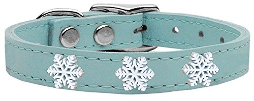 (Mirage Pet Products Snowflake Widget Genuine Leather Dog Collar, Size 24, Baby)