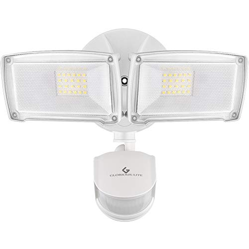GLORIOUS-LITE 28W LED Security Light, 3000LM Motion Sensor Light Outdoor, IP65 Waterproof & ETL Certification, 5500K, 2 Adjustable Head, Motion Activated Flood Light for Garage, Yard & Pathway,Patio
