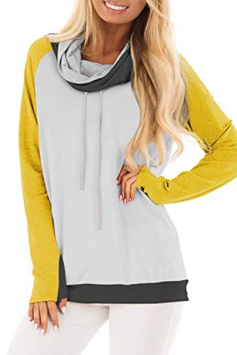 Dearlove Womens Long Sleeve Cowl Neck Drawstring Pullover Sweatshirts Casual Color Block Loose Shirts Blouse Tops Yellow M 8 10 - Drawstring Neck Top