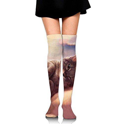 障害第二に暴徒にゃんこ ストッキング サイハイソックス 3D デザイン 女性男性 秋と冬 フリーサイズ 美脚 かわいいデザイン 靴下 足元パイル ハイソックス メンズ レディース ブラック