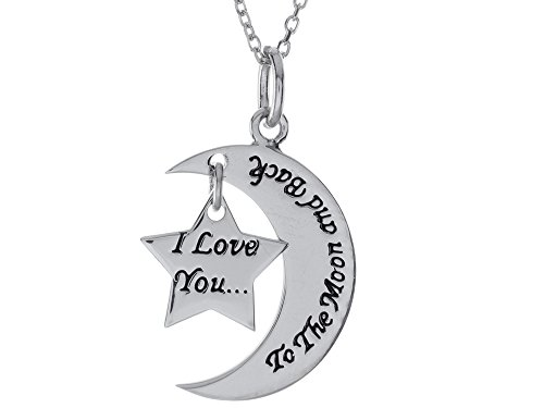 I Love You to the Moon and Back Star Pendant 18 inch adjustable w/Chain