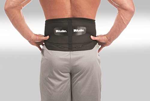 Mueller 255 Lumbar Support Back Brace with Removable Pad, Black, Regular(28' - 50' waist)