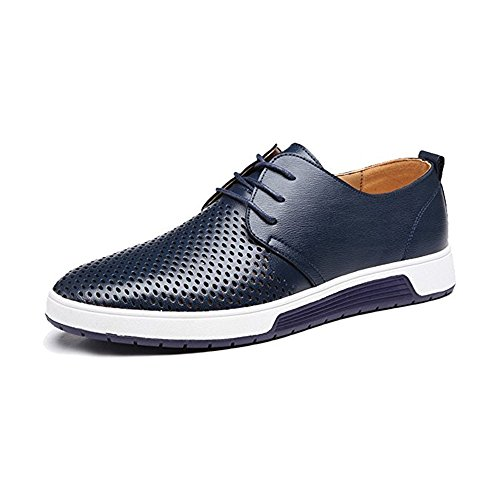 JACKY'S Merkmak New 2018 Men Casual Shoes Leather Summer Breathable Holes Luxury Brand Flat Shoe (11, - Brands Mens Luxury