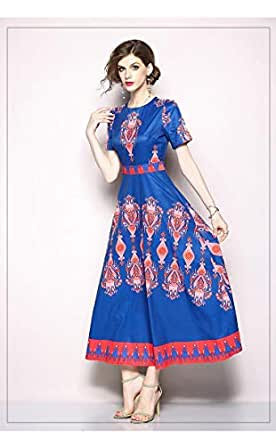 YnD Blue Color A Line Maxi Dress For Women