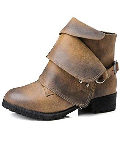 Forme ShallGood Plate Boots Chaussures Bottes Fermeture Femme Motardes Chaussures Bottines Flattie Cuir xOwqnT0Or