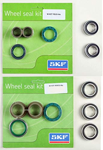 (SKF Front & Rear Wheel Bearings/Seals/Collars Kit - compatible with 2004-2018 Honda CRF250X & 2005-2018 CRF450X )