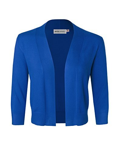 MAYSIX APPAREL 3/4 Sleeve Solid Open Bolero Cropped Cardigan For Women COBALTBLUE L