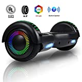 Felimoda 6.5 Inch Self Balancing Hoverboards Scooter Two Wheel Balance Board with LED Light Built-in Wireless Speakers and Carry Bag-UL2272 Certified (Black)