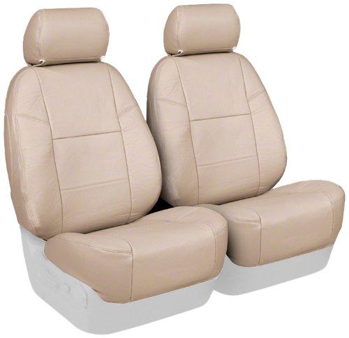 Coverking Custom Fit Front 50/50 Bucket Seat Cover for Select Chrysler PT Cruiser Models - Genuine Leather (Beige)