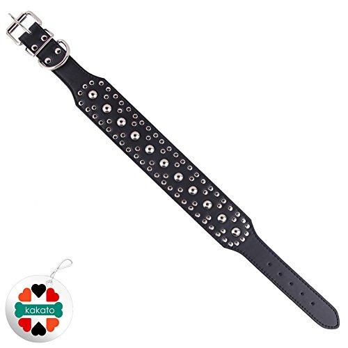 "Zehui Pet Kingdom 18-24"" Leather Studded Large Dog Collar 4 Colors 3 Size Pet Collar (Black, Large)"
