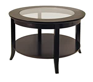 Winsome wood round coffee table espresso for Furniture xo out of business
