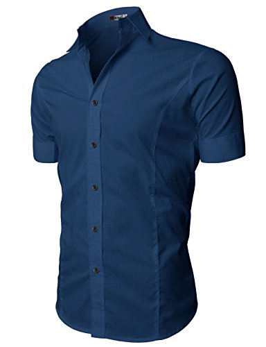 H2H Mens Wrinkle Free Slim Fit Dress Shirts with Solid Short Sleeve DARKBLUE US L/Asia XXL (JASK14_36)