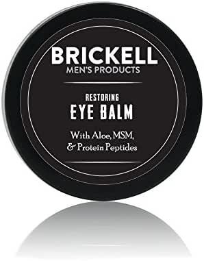 Brickell Men's Restoring Eye Cream for Men, Natural & Organic Anti Aging Eye Balm To Reduce Puffiness, Wrinkles, Dark Circles, Under Eye Bags - .5 oz