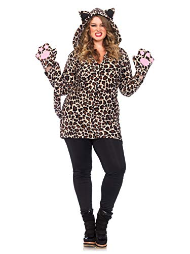 Leg Avenue Women's Plus Size Cozy Leopard, 1X/ 2X